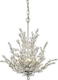 elk lighting 45262 6 crystique 6 light crystal chandelier polished chrome