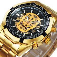 WINNER Official Automatic GOLD Watch Men Steel Strap Skeleton ...