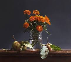 WILD APPLES and MARIGOLDS by Lawrence Preston | Painting competition, Art,  Painting