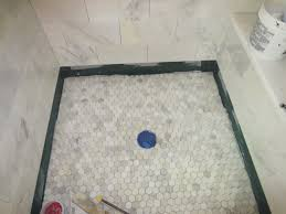 marble carrara tile bathroom part 5 installing the shower floor you