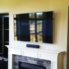 fireplace tv mount with soundbar