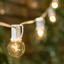 outdoor strand lighting. White Wire C9 Strand Clear Globe String Lights | Wedding Lighting Outdoor E