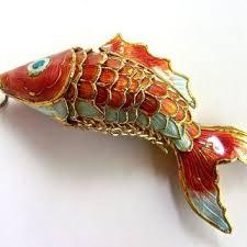 asian cloisonné enamel fish pendant articulated orange blue wh