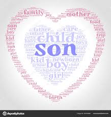 Son Word Cloud One Heart Another Heart Gradient Grey Background
