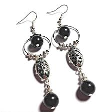 black glass bead chandelier earrings silver plated hooks or clip on for non pierced ears r15 17