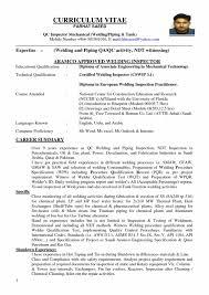 Welding Inspector Cv Sample Cover Letter Quality Control Resume