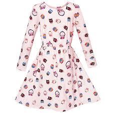 Details About Us Stock Girls Dress Oak Print Light Pink Long Sleeve Princess Size 2 10