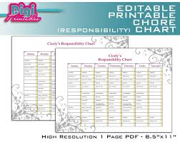 Editable Chart Templates Free Family Ccharts Printable Editable Chore Chart Templates