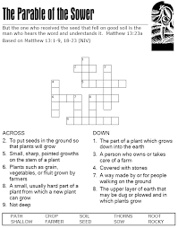 The Parable of the Sower - Crossword Puzzle | Sunday School Fun ...