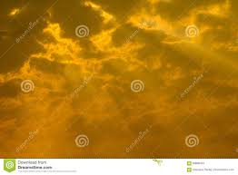 Yellow Light Shining Down Golden Sky Background Sunset Sky With Rays Of Light Shining