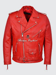brando men s m red classic motorcycle biker cowhide real leather jacket