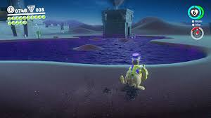 jaxi a ridable taxi cat statue can be found near the town ride him and you can cross the purple that usually kills mario