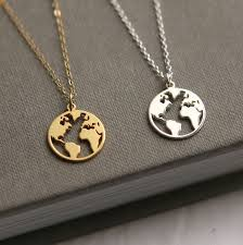 tiny world map necklace gold globe