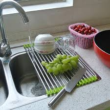 Over The Sink Drying Rack Multipurpose Roll Up Stainless Steel Dish Drying Rack For Over The