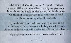 review the boy in the striped pyjamas by john boyne ellamariereads in depth plot summary just in case you re not familiar the story as the back of the cover itself says that it s best to start reading this book
