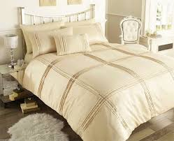 double size beige sequin trim chic duvet cover set