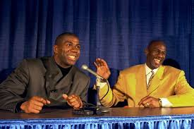 michael the everywhere man from vault com michael laughs magic johnson during a post game press conference after a bulls