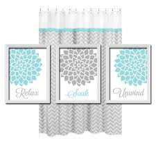 relax soak unwind grey gray teal blue flourish flower artwork set of 3 bathroom prints wall decor art picture match on blue and gray bathroom wall art with gray flower bathroom wall art bathroom quote canvas or prints