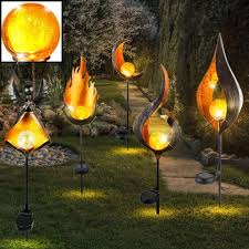 led solar flame light metal
