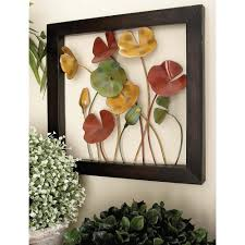 4 piece new traditional poppy flower with copper stems metal wall decor