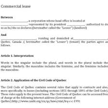 Free Commercial Lease Agreement Forms To Print Free Quebec Commercial Lease Agreement 3629377283301 Free
