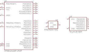 how to a schematic learn sparkfun com atmega328 atsha204 and attiny45 ic symbols