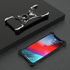 Ring Light For Iphone Xr Metal Bumper Case For Iphone X Xr Xs Max Hard Cover Kickstand Aircraft Finger Ring Light Weight Heat Dissipation Personality