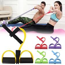 4 Tube Strong Fitness Resistance Bands <b>Latex Pedal</b> Exerciser ...