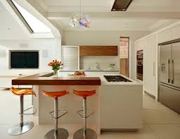 london serving bars with faux leather bar stools and counter kitchen contemporary bespoke island orange