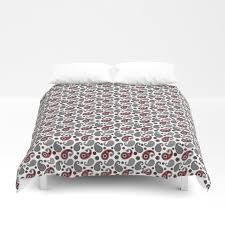 paisley pattern black white gray and red duvet cover