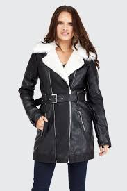 furlined pu trench coat