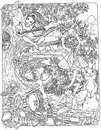 Fantasy Child Elves Myths Legends Adult Coloring Pages