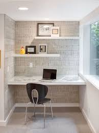 alcove office. example of a midcentury modern home office design in portland alcove
