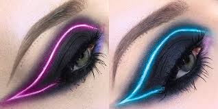 Light Pink And Blue Eyeshadow You Need To Try The New Neon Light Makeup Trend