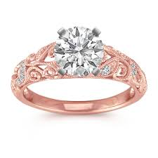 vine diamond enement ring with pave setting in rose gold