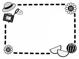 麦わら帽子とスイカとひまわりの白黒点線フレーム飾り枠イラスト 無料