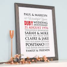 40th wedding anniversary gift ideas for my wife best of personalised ruby wedding anniversary art by