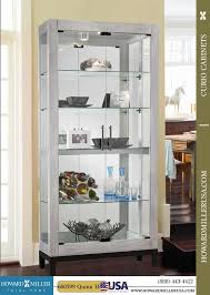 howard miller silver reclaimed finish modern curio cabinet