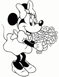 Disegno Di Minnie Con I Fiori Da Stampare Gratis E Da Colorare