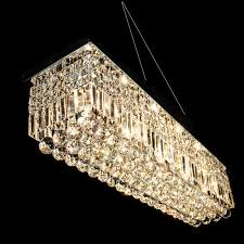 long size rectangle crystal pendant light fitting crystal chandelier ceiling suspension lamp for dining room