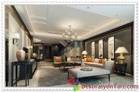 Salonlar Icin Kare Ve Dikdortgen Asma Tavan Modelleri Ev Dekorasyon Tarz