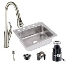 All In One Drop In Stainless Steel 25 In 4 Hole Single Bowl Kitchen