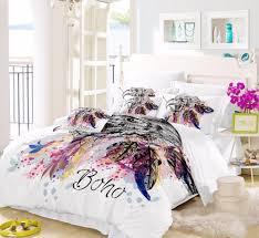 dreamcatcher feathers luxury watercolor bedding set bohemian printed feather queen size pillowcase duvet cover set sj131 brown bedding black bedding sets