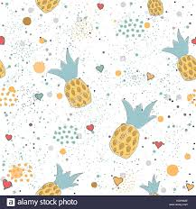 Wedding Gift Wrapper Design Hand Drawn Seamless Pattern With Pineapples And Hearts Great