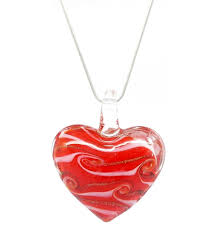 distinctive decorative tricolore venetian murano glass love heart shaped pendant necklace red gold white
