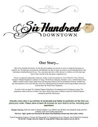 six hundred downtown menu page1