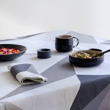 diamond charcoal grey ivory geometric graphic round tablecloth