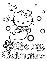 Small Picture Hello Kitty Mermaid Bubbles And Flower Valentines Coloring Page