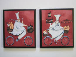 chefs kitchen wall decor signs fat chef on bicycles 2 pictures red french