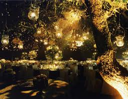 romantic night outdoor wedding decoration leading to the reception